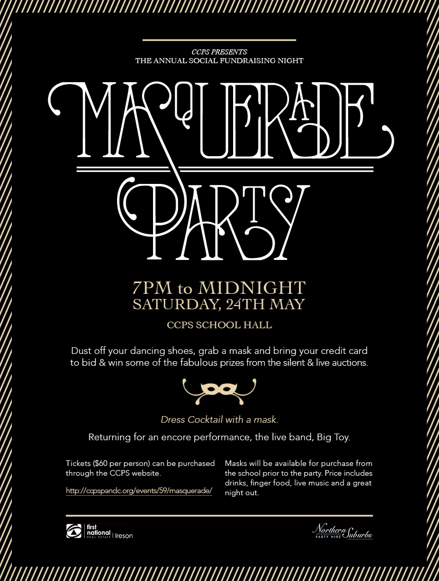 Masquerade Party Invitation | Castle Cove Public School P&C